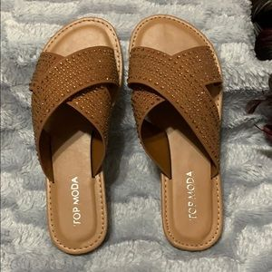 2a3274d8dc8a TOP Moda Shoes - Brown criss cross spring sandals w  rhinestones